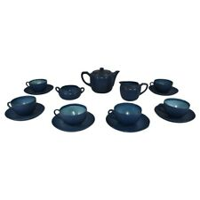 Marblehead Pottery Matte Blue Arts and Crafts Tea Set Cups and Saucers