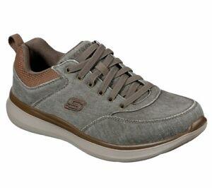 Skechers Khaki Shoes Men Canvas Memory Foam Slip On Comfort Casual Oxford 210024