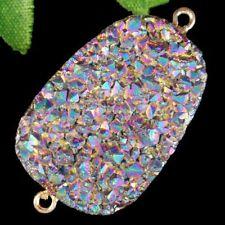Wrap Rainbow Titanium Crystal Agate Druzy Quartz Geode Pendant Bead S75035