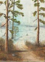 LONGLEAF PINE TREES NATURE SYLVAN SAND ROCKS PATH MIST LANDSCAPE HOUSE PAINTING