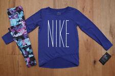 Nike Girl Long Sleeve Shirt and Leggings Set ~ Dri-Fit ~ Purple, Black & Teal ~