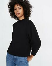 Madewell Texture & Thread Black Button Back Mock Neck Top Size Small (XS)