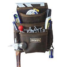 Irwin LEATHER NAIL & TOOL BELT 10 Pockets TCC-825 Double Stitched - USA Brand