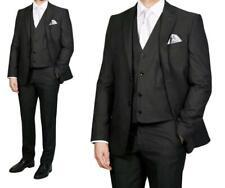 Herren Anzug 3-teilig mit Elastan Gr.74 Schwarz