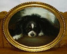 Chelsea House Oil Painting On Panel - King Charles Spaniel Dog - Scratched