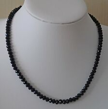 Crystals Necklace Lobster Clasp Ic261 18� Black Rondelle Faceted Glass