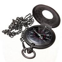 Vintage Steampunk Retro Bronze Pocket Watch Quartz Pendant Necklace Chain New