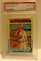 1975 Topps Mini Card #351 Bob Boone Phillies PSA 8 nm-mt