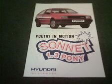 1988 HYUNDAI PONY 1.3 SONNET Special Edition 3 Door - UK COLOUR FOLDER BROCHURE