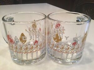 RARE PAIR OF RADIO CITY Music Hall GLASS MUGS CUPS THE ROCKETTES CLEAR HEAVY