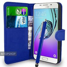 Blue Wallet Case PU Leather Book Cover For Samsung Galaxy A3 A310 2016 Mobile