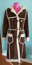 Vintage shearling long Coat Marlboro womens 36-38 inch chest Toggle Close