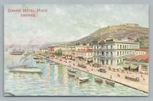 Grand Hotel Huck SMYRNA Izmir Turkey Antique Advertising Art STAMP Ottawa 1908
