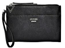 NWT GUESS FELTON WRISTLET BAG Black Logo Clutch Pouch Handbag Wallet GENUINE