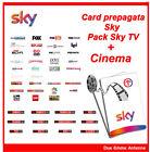 SKY TV HD più CINEMA Scheda Prepagata - SCADENZA 1 APRILE 2018