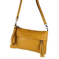 Clutch Cross Bag Umhänge Hand Schulter Tasche Leder Curry Gelb Quasten Klein NEU