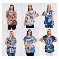 Caroline Morgan Women Casual Summer Loose Tops Floral Cat Horse Tiger Animal Top