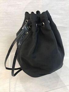 Genuine Gucci Canvas/ Leather Drawstring Pouch Bag Black