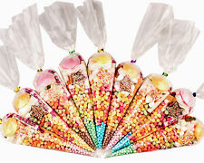 100 x Pre filled Kids Children's  Sweet  party cone Bags Only free postage