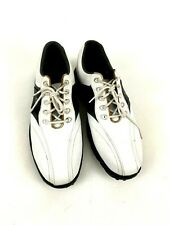 Footjoy Mens Golf Shoes Size 11M Greenjoys Black White Leather Soft Spikes