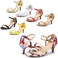 Women's Low Stilettos Heel Sandals Ankle Strap Work Dress Party Shoes Size US