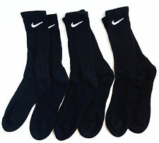 NIKE Men's Performance Cotton Cushioned Crew Socks 3 Pairs Black Shoe Size 8-12