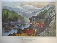 Vintage Currier & Ives America Color Print, The Route To California