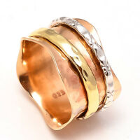 Solid Copper 925 Sterling Silver Thumb Spinner Ring Meditation Ring Size sr5012