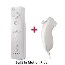 Motion Plus WHITE Remote Control + Nunchuck + Case+ Strap For Nintendo Wii Wii U
