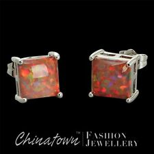 8x8mm Square Mexican Brown Fire Opal Cabochon Silver Jewelry Stud Earrings