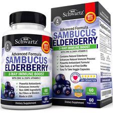 BioSchwartz Sambucus Elderberry Zinc Vitamin C Powerful Antioxidant 60 Veg Caps