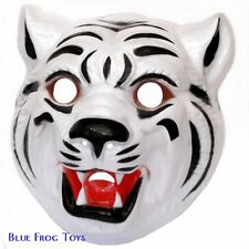 White Tiger Plastic Face Mask - Fancy Dress Accessory