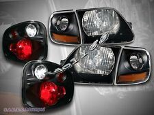 97-00 FORD F150 BLACK HEADLIGHTS + CORNER LIGHTS + FLARESIDE TAIL LIGHTS