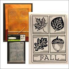 Darice embossing folders FALL SQUARE embossing folder - leaves,acorn,words 8378