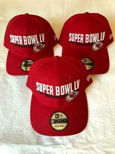 Pack of 3 NFL Super Bowl LV 55 Kansas City Chiefs Adjustable Hats by New Era NEW
