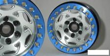 """SSD 1.9"""" Champion Beadlock Wheels SILVER BLUE ring SSD00244 Axial Bomber Alloy"""