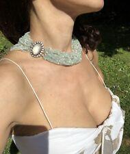 18K White Gold Seafoam Aquamarine 1.4 ctw Diamond Pearl Quartz Vintage Necklace