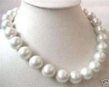 14mm White South Sea Shell Pearl Round Beads Necklace 18''