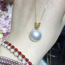 AAA huge 14-15mm nature Janpan MABE white pearl pendant 18k gold