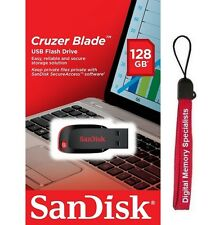 SanDisk 128GB Cruzer Blade USB 2.0 CZ50 128G USB FLASH DRIVE SDCZ50-128G +Lanyar