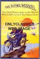 20s THE FLYING MERKEL MOTORCYCLE ART GRAPHICS TOURING POSTER RACER RACING DESERT