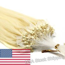 16inch 100S Micro Ring Beads Loop Tip Remy Human Hair Extensions Platinum Blonde
