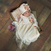Exclusive! NEW! Haute Baby Boutique Newborn Girls Gown Peach Blush