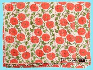 Kantha Quilt Cotton Bedspread Orange Color Coverlet Floral Print Throw King Size