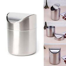 Mini Stainless Steel Desk Trash Bin Countertop Waste Can With Swing Lid 1.5 L