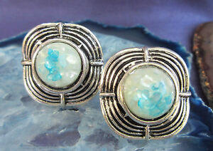 SX Ring IN Vintage Style Tibetan Silver Square Shell Mother of Pearl Blue White