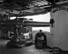 New 8x10 World War I Photo: 7-inch Gun Port aboard USS PENNSYLVANIA, 1918