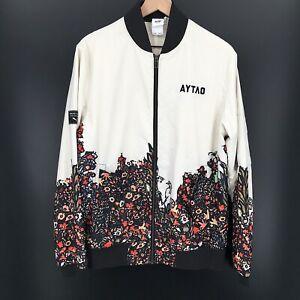 puma aytao jacket moscow Satin Bomber Jacket Ivory Floral full zip NYMA M Men's