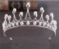 Silver Bridal Tiara Rhinestone Crystal Prom Wedding Quinceanera Pageant Crown