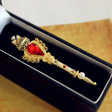 Womens Luxury Gold Scepter Royal Crown Cross Stone Pin Brooch Quality